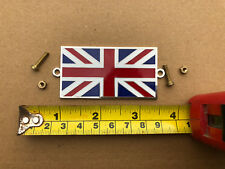 Union Jack Metal Enamel Badge Emblem Classic Car Bolt Screw On 75mm x 35mm