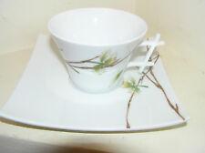 RARE tasse & soucoupe Medard de Noblat extra blanc en oxygène JARDIN DE FLORE magnifique