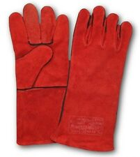 12 PAIRS WELDING RED LEATHER GLOVES WELDERS GAUNTLETS HEAT RESISTANT SAFETY PPE