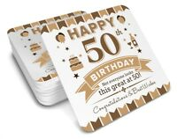 50th  Birthday 1968 Happy Present Gift Idea For Men Him Male Keepsake Coaster