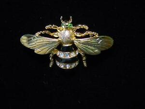 """JJ"" Jonette Jewelry Gold Pewter 'BEAUTIFUL BEE' w/Stones Pin"