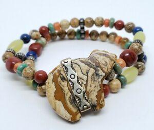 Vintage Relios Carolyn Pollack Sterling Jasper Multi Stone Fetish Bear Bracelet
