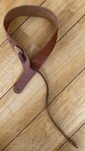 Liam's Double Sided Leather 3 Inch Wide Guitar Strap Light Tan/Brown