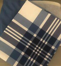 New Twin Blue Bedskirt Plaid Sham Set