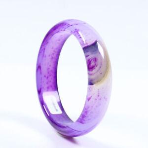62mm Certified Grade Natural Agate Chalcedony Purple Jade Bracelet Bangle a3178