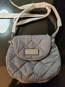 Marc Jacobs Grey Quilted Nylon Mini Messenger Bag-M0011379-097-NWT