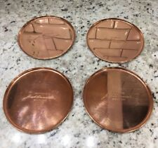 New! $200 Jacob Bromwell Solid Copper Set Of 4 Drink Coasters. Made In Usa.