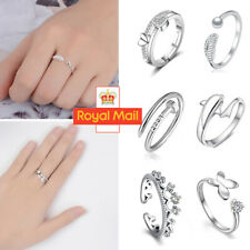 Womens 925 Sterling Silver Rings Adjustable Thumb Wedding Engagement Gift A