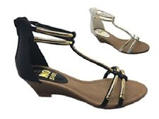 Ladies Shoe No Shoes Anklet Black/Gold White/Gold Wedge Zip up Gladiator Sandals