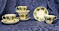 4 Wedgwood Tea Cups & Saucers Pear Shaped - NAPOLEON IVY - Vintage Porcelain
