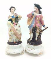 Antiguo Inglés Bisque Porcelana Victoriano Courting Pareja Músico 19.1cm 19cm
