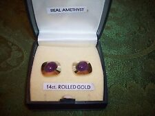 14CT ROLLED GOLD Genuine AMETHYST EARRINGS MINT W/ORIG BOX NO RESERVE