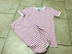 Mini Boden Pink And White Striped  Short John pajamas, Size 12