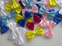 12 Mini Satin Ribbon Bows Ties Sew Crafts Pre Tied Wedding Handmade UK 45 MM