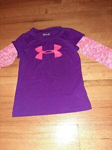 Under Armour  Girls Shirt. 5. Purple &pink. Heat Gear. Long Sleeves. Lg. Logo