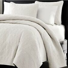 Bed In A Bag Oversized-3pc Quilted Coverlet Set- White, King Size Bed Cover NEW