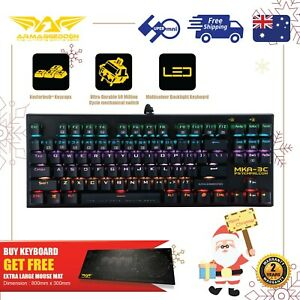 Gaming Mechanical Keyboard Blue Switch MultiColor get Free Large Mousemat 87 Key