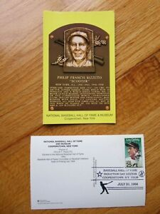 PHIL RIZZUTO Induction HALL OF FAME Plaque July 31 1994 CANCELED Stamp YANKEES