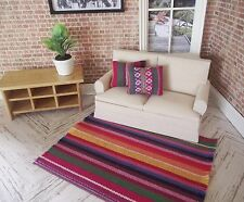 MINIATURE DOLLS HOUSE FURNITURE 12TH SCALE WOVEN  RUG 15CM X 11CM & CUSHIONS