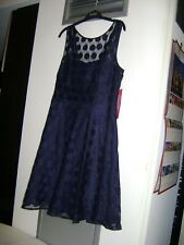 Betsey Johnson Navy Blue Sheer Polka Dot A-line Cocktail Dress - Size 12