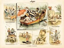Exhaustion of Vacation in the Country Tennis Rowing Weight Lose 1887 Cartoon