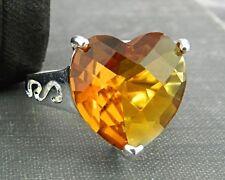 Sterling Silver Orange Heart Ring - Size 7.5