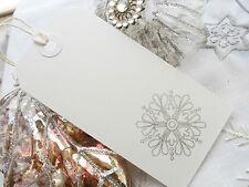 10 White Silver Snowflake  Christmas Gift Tags Handmade Vintage Style