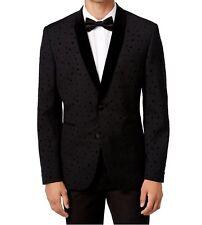 $295 Bar III Men's Slim-Fit Black Flocked Dot 42/Regular Evening Jacket Blazer
