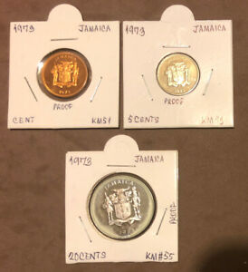 1973 Jamaica Proof Set of 3 Collectible Coins-1,5,20 Cents-Mintage =17,000