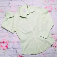 Brooks Brothers Women Size 4 Green Fitted non iron Stretch Button Up Blouse