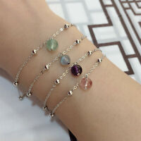 925 Sterling Silver Natural Amethyst Moonstone Lucky Beads Bracelet Jewelry Lot