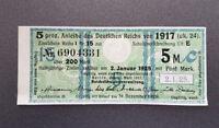 5 % Anleihe des Deutschen Reichs 5 Mark 1917 Kupon Zinsschein Banknote (8085)