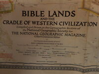 1946 Bible Lands National Geographic Vintage Map Folded Flea Market Farmhouse