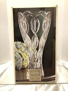 "NEW Lenox Cut Crystal 14""/35.5cm Tall Ribbon Vase~Made in Czech Republic"