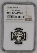 More details for 1984 silver proof £1 scottish thistle great britain ngc pf70uc