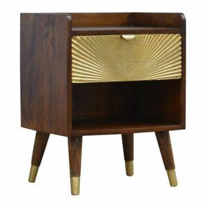 Art Deco Inspired Gold & Dark Wood Bedside Table Sunrise Printed Mid Century