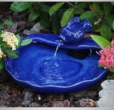 Ceramic Fountain Solar Blue Fish Water Pump Filter Decor Garden Outdoor Yard G