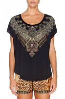 new CAMILLA FRANKS SWAROVSKI RULER OF THE UNDERWORLD BLACK TEE TOP layby availab
