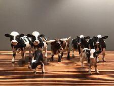Schleich Holstein Cow, Calves, Bull (Black & White) & Longhorn (Brown & White)