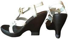 NEW Fendi White Selleria Leather Strappy Platform Wedge Sandals 39 - US 8.5 NIB