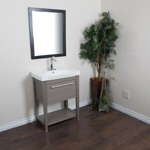 27.5 in Single Sink Vanity-Solid Wood-Gray ****FREE SHIPPING****