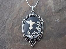 """*HUMMINGBIRD CAMEO NECKLACE PENDANT 2"""" (white/black) 925 PLATE CHAIN- QUALITY"""