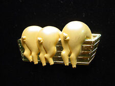 """JJ"" Jonette Jewelry Gold Pewter '3 Pigs at the Trough' Pin ~ DAMAGED"