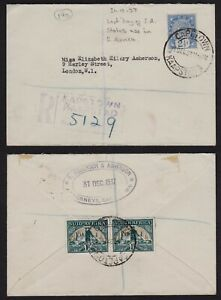 1937 LAST DAY USAGE OF NATAL 2 1/2D ON UNION OF SOUTH AFRICA REG'D COVER + C.O.P