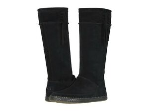 Women's Shoes UGG EMERIE Tall Suede Fringe Boho Boots 1106754 BLACK