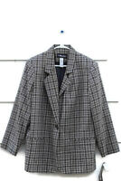 Sag Harbor Woman Jacket Blazer Lined Wool Blend Houndstooth Size 18W