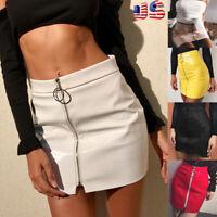 Fashion Women Skirt PU Leather Mini Slim Skirt High Waist Pencil Bodycon Skirt