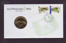 1905-2005 Australian Open Tennis FDC PNC $5 Coin Stamp Set Played Melbourne