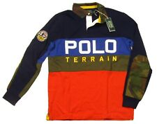 Polo Ralph Lauren Men's Navy Multi Sportsman Classic Fit Long Sleeve Polo Shirt