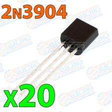 20x 2N3904 Transistor NPN TO-92 40V 200mA 625mW 300Mhz BJT